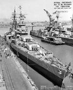 Indianapolis at Mare Island Navy Yard, CA, for upgrades, 12 Jul 1945, photo 1 of 4