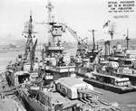 Indianapolis at Mare Island Navy Yard, CA, for upgrades, 12 Jul 1945, photo 2 of 4