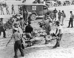 Some of the 93 Indianapolis survivors delivered to Peleliu by the USS Cecil J Doyle, 4 Aug 1945