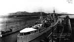 Indianapolis leaving the upper chamber of the Miraflores Locks, Panama Canal, 4 Mar 1933