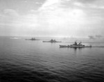 USS Iowa (foreground), USS Wisconsin, USS Missouri, and USS New Jersey (background) off the Virginia Capes, Virginia, United States, 7 Jun 1954