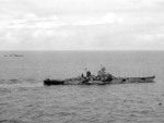Battleships Iowa and Indiana underway during the Marshall Islands Campaign, 24 Jan 1944; note Camouflage Measure 32 Design 1B; cropped photo of NARA 80-G-235080