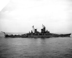 USS Iowa departing Wonsan harbor, Korea, 18 Apr 1952; note HO3S helicopter on aft deck
