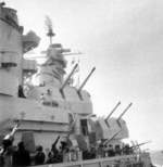 Oerlikon and 5-inch mounts aboard USS Iowa during her shakedown cruise off east coast of the United States, May 1943