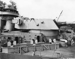 View of turret No. 2 and surrounding 20mm Oerlikon mounts aboard USS Iowa, New York Navy Yard, New York, United States, 9 Jul 1943