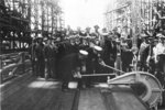 Rear Admiral Clark Woodward driving the first rivet for battleship Iowa at the keel laying ceremony, New York Navy Yard, New York, United States, 27 Jun 1940