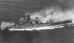Hybrid battleship-carrier Ise under attack at Battle off Cape Engaño, 25 Oct 1944
