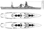 Drawing of Japanese battleship Ise as seen in US Office of Naval Intelligence publication ONI-222-J dated Jun 1945
