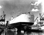 Juneau ready for launching, Federal Shipbuilding Company yard, Kearny, New Jersey, United States, 25 Oct 1941