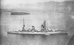 Battleship Yamashiro and carrier Kaga in Kobe Bay, Japan, 22-23 Oct 1930; they were gathering for a fleet review