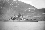 HMS King George V with bow damaged sustained after collision with HMS Punjabi, Seidesfjord, Iceland, 3 May 1942