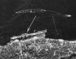 RAF reconnaissance photo showing Köln moored in the Fætten Fjord northeast of Trondheim, Norway, 19 Jul 1942, photo 1 of 3