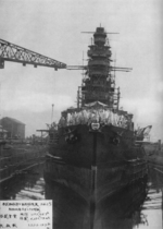 Kongo under reconstruction, Yokosuka, Japan, 20 Jul 1931; she was nearing completion