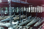 Koryu Type D submarines in an assembly shed at the Mitsubishi shipyard, Nagasaki, Japan, 17 Sep 1945