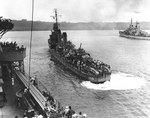 Destroyer USS Laffey (foreground) and cruiser USS Juneau in Luganville anchorage, Espiritu Santo, New Hebrides, 16 Sep 1942. Both ships arrived with survivors of the sunken USS Wasp (Wasp-class). Photo 1 of 4.