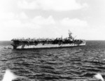 USS Langley at anchor in Kwajalein Lagoon, 8 Feb 1944