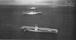 USS Ranger (foreground), USS Lexington (center), and USS Saratoga (background) at anchor off Honolulu, US Territory of Hawaii, 8 Apr 1938 during the exercise Fleet problem XIX. Photo 1 of 2