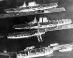 USS Lexington (top), USS Saratoga (center), and USS Langley (bottom) at Puget Sound Naval Shipyard, Bremerton, Washington, United States, 1929