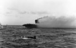 A whaleboat evacuating men from USS Lexington, 8 May 1942, photo 2 of 2