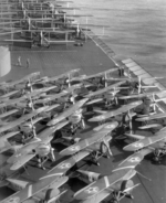F3B-1 (foreground), F6C-3 Hawk (center), and T4M-1 (background) aircraft on the flight deck of USS Lexington, 1929