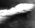 Lexington sailing through aircraft-deployed smoke, off Panama, 26 Feb 1929