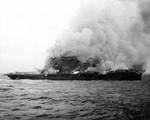 Lexington burning after the abandon ship order had already been given, 8 May 1942