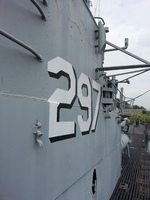 Close-up of museum ship Ling