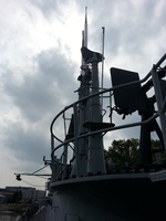 View of radar equipment and periscopes aboard museum ship Ling, Hackensack, New Jersey, United States, 31 Aug 2013
