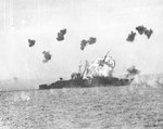 Louisville hit by special attack aircraft, Lingayen Gulf, Philippine Islands, 6 Jan 1945