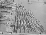 Inactivated submarines at Mare Island Naval Shipyard, California, United States, early 1946