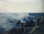 40mm Bofors gunnery drills aboard USS Makin Island, 21 Mar 1945, prior to the Okinawa Campaign