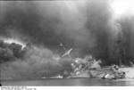 French cruiser Marseillaise afire and sinking, Toulon, France, 27 Nov 1942