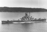 US battleship Massachusetts leaving Puget Sound Navy Yard, Washington, United States following a wartime refit, 11 Jul 1944, photo 3 of 3