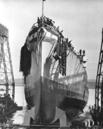 Launching of light cruiser Miami, William Cramp and Sons, Philadelphia, Pennsylvania, United States, 8 Dec 1942