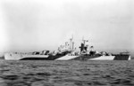 USS Miami in Camouflage Measure 32 Design 1d, early 1944; war time censor had erased radar antennae and gun directors