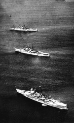 Cruisers in Ise Bay, Japan, summer 1938; from front to back: Mogami, Mikuma, and Kumano