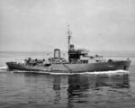 Corvette USS Intensity, formerly the Canadian-built HMS Milfoil, underway, circa mid-1943