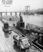 USS Mingo at Mare Island Naval Shipyard, California, United States, 2 Feb 1944; note two LCT craft in beyond
