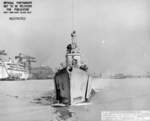 Bow view of USS Mingo departing Mare Island Naval Shipyard, California, United States, 20 Jul 1945