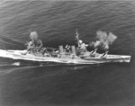 USS Minneapolis firing her 8-in main guns during gunnery practice, 29 Mar 1939