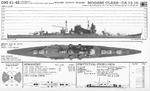 Identification drawing of Japanese Mogami-class heavy cruiser as published in A503 FM30-50 booklet for identification of ships of the US Division of Naval Intelligence, Oct 1942