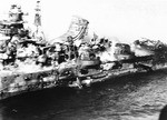 Close-up view of Mogami during the Battle of Midway, showing damage, Jun 1942; photo was taken by a US Navy pilot