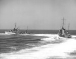 Destroyer Dale leading destroyer Monaghan through a turn during an exhibition off San Diego, California, United States by US Navy Destroyer Squadron 20 for Movietone News, 14 Sep 1936