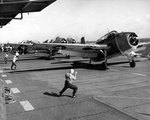 TBM-1C Avenger bombers prepared to take off from Monterey to attack targets on Tinian, Jun 1944