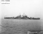 USS Montpelier at Mare Island Navy Yard, California, United States following overhaul, 18 Oct 1944, photo 2 of 2; note camouflage Measure 32, Design 11a