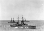 Nevada with two other battleships, 1920s