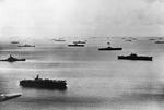 Elements of Task Force 58 of the US Navy 5th Fleet at anchor, Majuro Atoll, Marshall Islands, probably Apr 1944