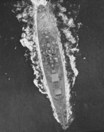 Aerial view of USS North Carolina, off the US east coast, 17 Apr 1942, photo 2 of 3