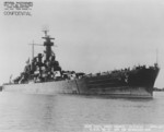 Starboard bow view of USS North Carolina, Pearl Harbor Navy Yard, US Territory of Hawaii, 16 Nov 1942