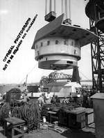 Installation of the No. 3 turret of battleship North Carolina, New York Navy Yard, Brooklyn, New York, United States, 7 Sep 1940, photo 2 of 2